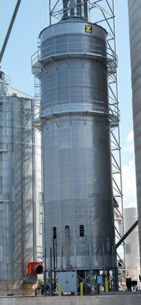 LP-gas Zimmerman tower dryer has the capacity to dry 5,000 bph of grain at five points of moisture removal.